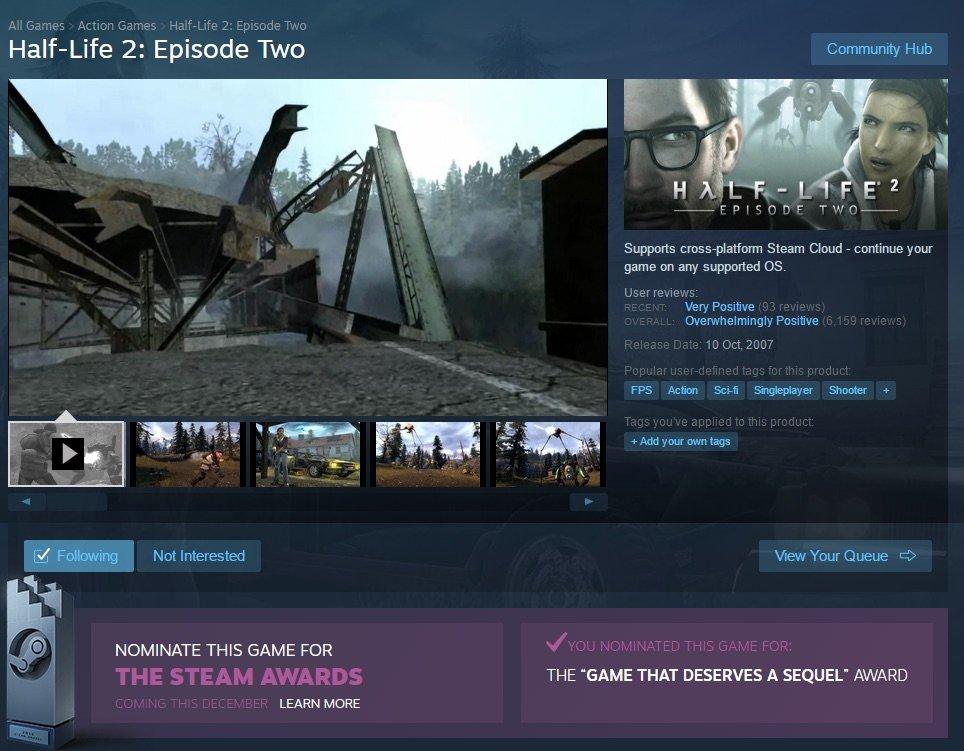 В Steam можно проголосовать за сиквел к Half-Life 2: Episode Two - Изображение 2