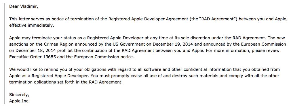 Apple блокирует аккаунты разработчиков из Крыма - Изображение 1