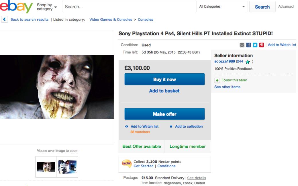 PS4 с установленным хоррор-демо P.T. идут по 244 тыс рублей на eBay. - Изображение 1