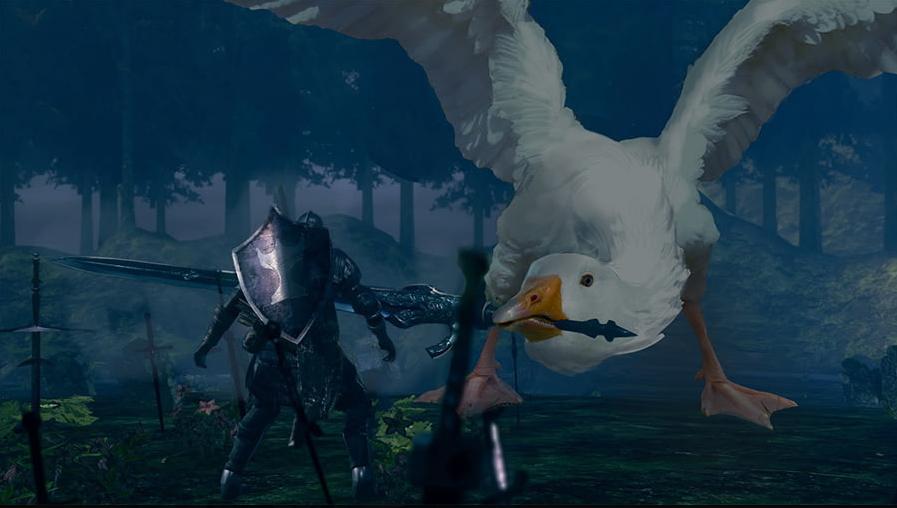 Моддер превратил гуся из Untitled Goose Game в гигантского босса в Dark Souls 3
