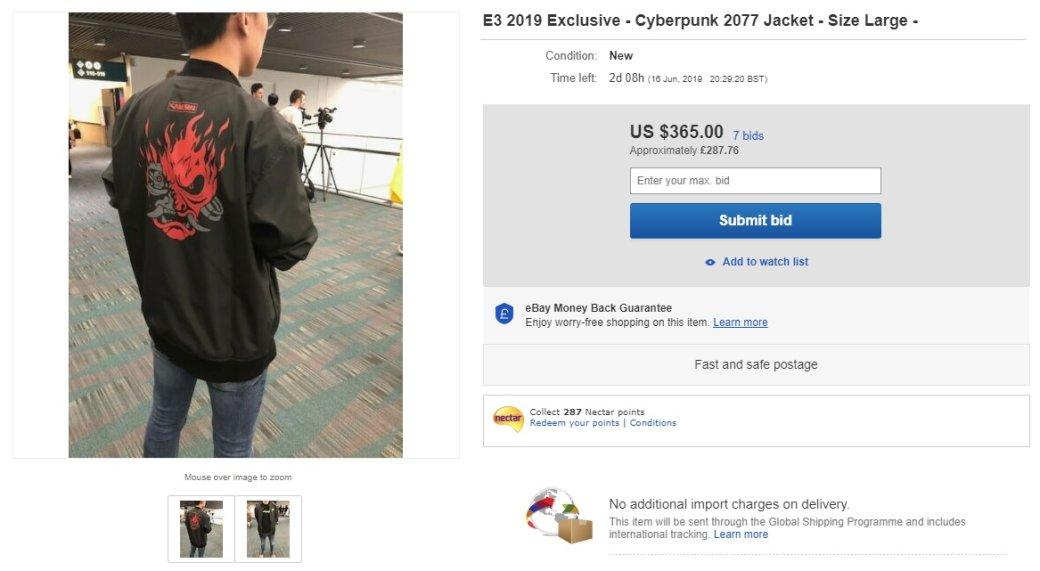 На eBay куртка по Cyberpunk 2077 продается за 29 тысяч рублей. Разработчики просят не покупать ее | Канобу - Изображение 3602
